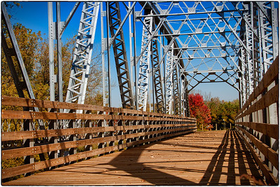 Walking bridge over the Kokosing River on Big Run Road south of Gambier, Ohio.
